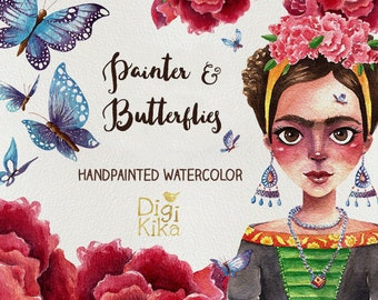 Fridas Clipart, Hand Painted Watercolor Clip Art, Painter Wartercolor Clipart, Frida Graphics, Butterfly, Roses, Planner Supplies, Hand Draw