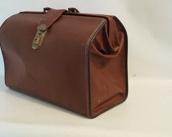 Vintage Leather Doctors Bag Old Brown Suitcase Canvas Lined Luggage