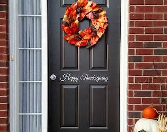 More colors. Happy Thanksgiving Decal - Front Door ... & Thanksgiving door   Etsy