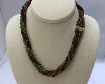 Natural Peridot/Ruby  multi- strand necklace