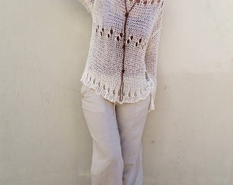 Loose summer sweater, cotton knit sweater, women sweater, cotton sweater, cotton pullover, natural cotton