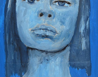 Blue Emotional Girl Portrait Painting Print. Digital Prints. Apartment Wall Print. Raw Feelings