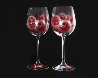 25th Anniversary Glasses - Hand-Painted Crystal Wine Glasses Set of 2 Ruby Red and Silver Roses READY TO SHIP 15th Anniversary Gifts