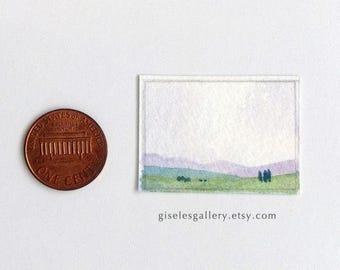 3 Dollhouse miniature paintings - original watercolors 1:12 scale