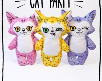 Three cat stuffed dolls- Soft Minky plush cat toys in pink purple and yellow come in a set