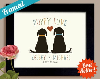 Puppy Love Personalized Wedding Gift Dog Lovers Bridal Shower Unique Engagement Gift Idea Framed Gift Art Print Couples Gift Newlyweds Gift