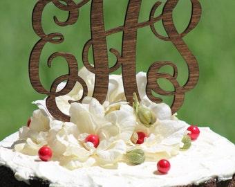 Rustic Wooden Monogram Wedding Cake topper - Wooden cake topper - Personalized Cake topper
