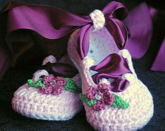Crochet Pattern Ballerina Baby Booties PDF  - Pattern number 202 Instant Download  kc550
