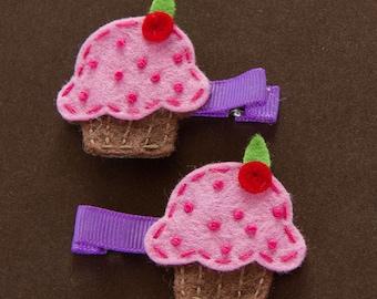set of 2 cupcake hair clips