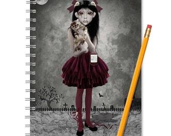 Vampire Girl | Notebook And Journal | Handmade Book | Lined Or Blank Book | Spiral Book | Jotter