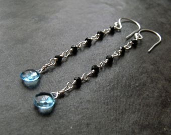 Swiss Blue Topaz and Black Spinel Micro Faceted Gemstone Beads Long Sterling Silver Dangle Earrings