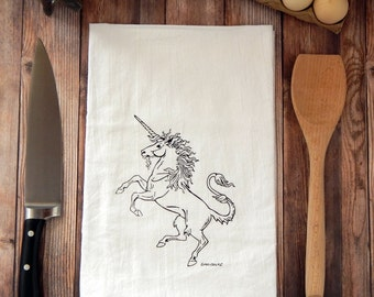 Unicorn Flour Sack Tea Towel