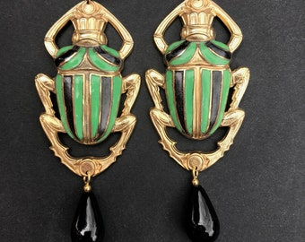 Gold Plated Scarab Earrings With Glass Enamel