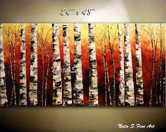 Birch Forest ORIGINAL Painting Abstract Textured Painting.Impasto.Palette Knife.Red Landscape Painting.Autumn  Wall Decor  - by Nata S.