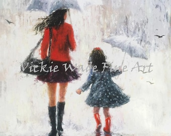 Mother and Daughter Art Print, mothers day gift, mother paintings, umbrellas, mom, daughter paintings rain art, Vickie Wade art