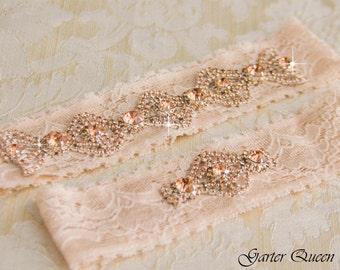 Rose Gold Wedding Garter Set, Bridal Garter Set, White Lace Wedding Garter, Crystal Garter Set, Ivory Lace Garter Set
