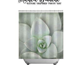 Shower Curtain Soft Sedum Petals Sage Green Nature Decor Bathroom Art Set Photo Shower Curtain and Print or Gallery Wrapped Canvas set