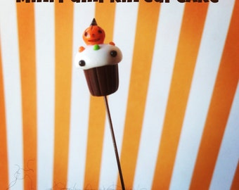 Mini Pumpkin Halloween Cupcake Pin Topper