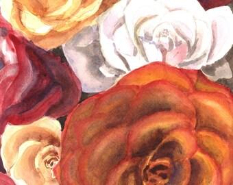 Roses Watercolor Print 11 x 14, Floral Painting, Botanical Art, Home Decor Wall Art Flower Aquarelle, Watercolor Print, Pink Flowers art