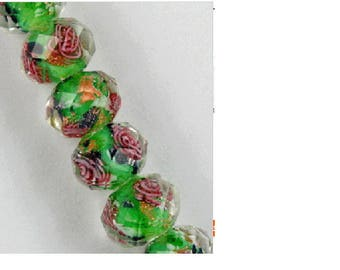 Set of 3 green lampwork beads Lampwork faceted 7 mm x 6 mm