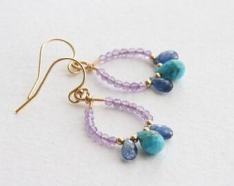 Sapphire, turquoise & amethyst chandelier earrings, Gold wire wrapped drop earrings, Gemstone dangle earrings, 14k gold filled earrings