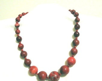 Red jasper necklace graduated beads 18 inches vintage cranberry red