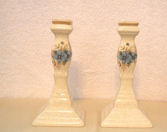 Mikasa Day Dreams  Garden Club. Blue Flowers on Tan Pattern Candle Sticks