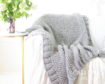 Knit Throw Blanket PATTERN 603 - Winchester Throw PATTERN 603 - DIY Easy Knitting Blanket Pattern - Instant Download