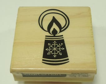 Christmas Snowflake Candle Wood Mounted Rubber Stamp By Craftsmart
