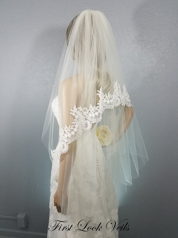 Lace Wedding Veil, Bridal Veil Ivory, Fingertip Veil, Floral Veil, Beaded Lace, Crystal Lace, Wedding Vail, Bridal Accessory, Bride