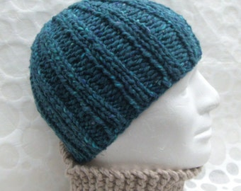 KNITTING PATTERN/ RUSTICO/ Chunky Ribbed Knit Beanie Pattern /Knit Straight/Easy Quick Knit Mans Hat/Simple Ribbed Hat Pattern/ Man Hat
