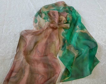 Hand painted silk scarf - abstract - Brown-Green tree silk-scarf - nature inspiration - chiffon silk-birthday -ready-to-ship.
