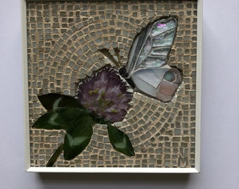 Butterfly on clover flower - stained glass mosaic wall art