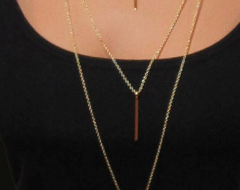 Three Tiered Gold or Silver Bar Necklace Triple Row Minimalist Simplicity Long Chain Jewelry Multistrand