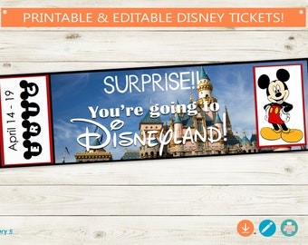 Disneyland Reveal Tickets // Instant Download, Editable, Print from Home // Adobe Reader Editable PDF // DIY, custom kids surprise, template