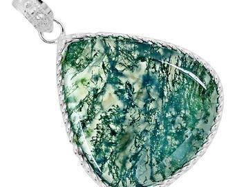 Green Moss Agate, sterling silver pendant... Momma Earth