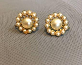 Vintage Light Yellow Faux Pearl Clip On Earrings