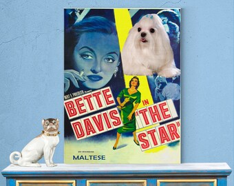 Maltese Dog Poster The Star Movie Print Dog Portrait from Photo Home Wall Art Decor Gift for Her Gift For Him FREE SHIPPING