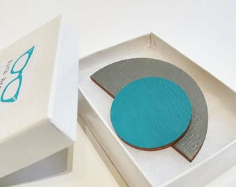 ORBIT brooch, hand painted wood, grey and teal
