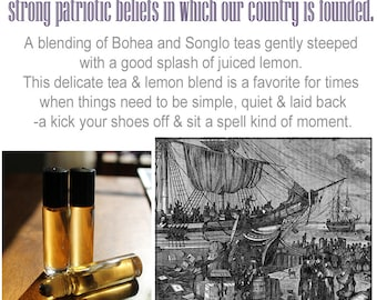 Personal Perfume Oil- Boston Tea Party | blended black teas, fresh lemon | Winter/fall scent | Roll on perfume |