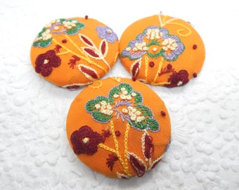 3 orange floral embroidered fabric buttons, sew on clothes, use in headbands, make a ring, create a pendant, 1 7/8 inches, 4.7 cm