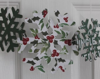14 snowflakes green, red, white paper covered chipboard large/small Snowflake die cuts use as ornaments, garlands+
