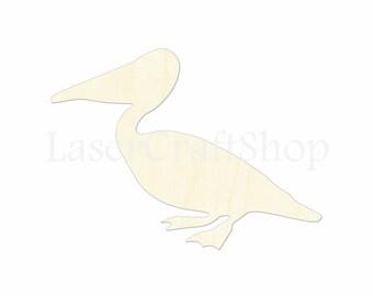 "2"" - 34"" Pelican Wooden Cutout Shape, Silhouette, Gift Tags Ornaments Laser Cut Birch Wood  #1119"