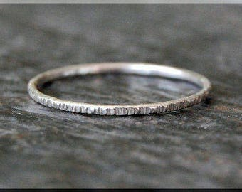 Ultra Thin Sterling Silver Twig Ring, Bark Texture Ring, Sterling Silver Stacking Ring, Woodland Ring, Hand Textured Bark Ring