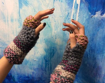 SALE 50% OFF ~ Wrist Arm Warmers ~ One of a Kind ~ Hand Knitted ~ Multi Colour