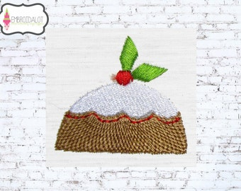 Pudding machine embroidery design. Such a cute little Christmas embroidery, two mini sizes. Fun pudding embroidery for winter.
