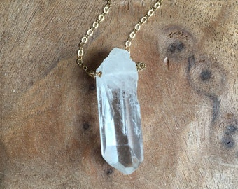 Crystal Necklace - Raw Quartz - Crystal Pendent Necklace - Raw Stone Necklace - Raw Crystal Necklace - Crystal Necklace