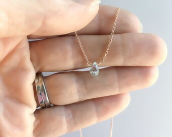 Aquamarine Necklace - Choker Necklace - Gemstone Necklace - Gift For Her - Birthstone Necklace - Girlfriend Gift