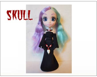"""Shibajuku Mini 6"""" Doll Clothes - SKULL Goth Medieval Gown, Belt and Necklace - Handmade Fashion by dolls4emma"""