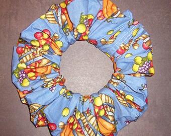 Cornucopia Hair Scrunchie, Holiday Hair Tie, Thanksgiving Ponytail Holder